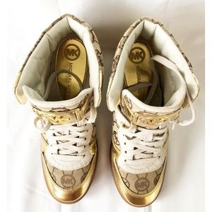 Michael Kors Wedge gold sneakers